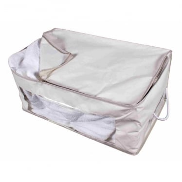 Oblong Storage Bag With Viewing Panel - Oyster with Grey Trim