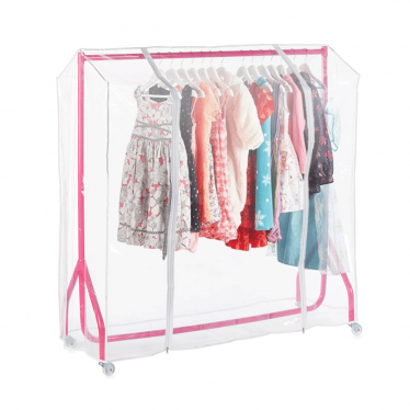 Pink Heavy-Duty Junior/Kids Clothes Rail with Cover