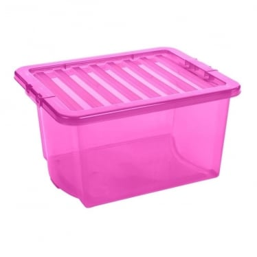Pink Storage Box with Lid - 35 L