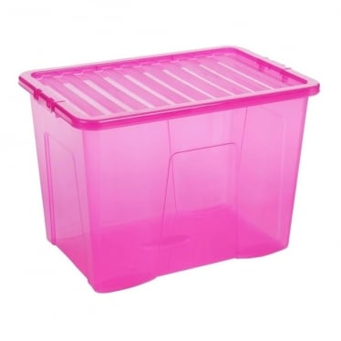 Pink Storage Box with Lid - 80 L