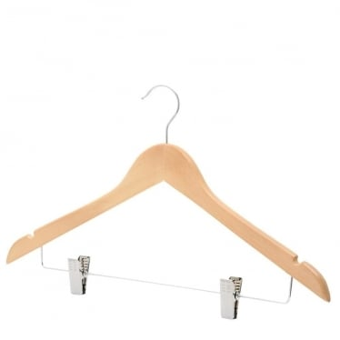 Shaped Wooden Hanger with Chrome Clips and Shoulder Notches