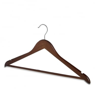 Walnut-Finish Hanger with Trouser Bar and Shoulder Notches