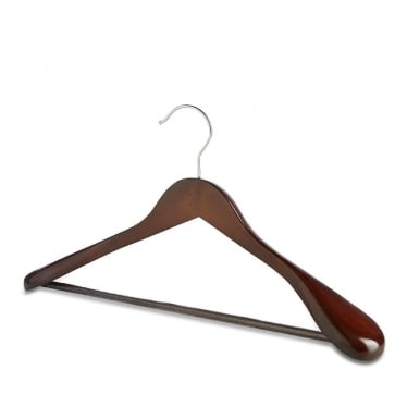 Walnut Hanger with Broad Shoulders and Trouser Bar