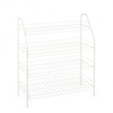 White 4-Tier Wire Shoe Rack - Up to 12 Pairs of Shoes