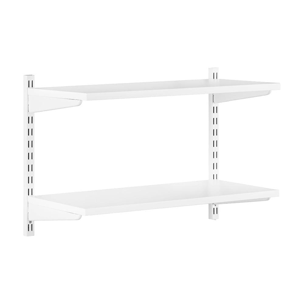 Swell White Adjustable Shelving 2 Wooden Shelves Beutiful Home Inspiration Ommitmahrainfo