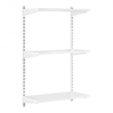 White Adjustable Shelving - 3 Wooden Shelves