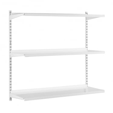 White Adjustable Steel Shelving - 2 x 1000 mm Uprights, 3 x Steel Shelves, 6 x Brackets