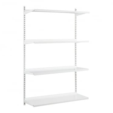 White Adjustable Steel Shelving - 2 x 1600 mm Uprights, 4 x Steel Shelves, 8 x Brackets