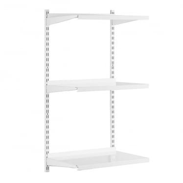 White Adjustable Steel Shelving Kit - 2 x 1000 mm Uprights, 3 x Steel Shelves, 6 x Brackets