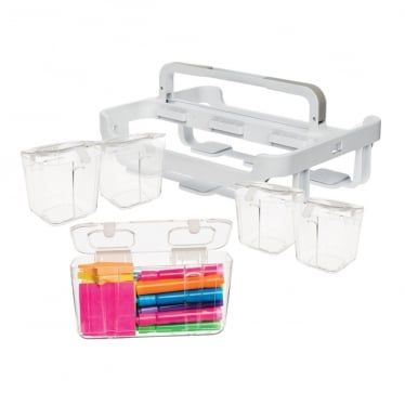 White/Clear Storage Caddy Organiser with 4 Small Caddies and 1 Medium Caddy
