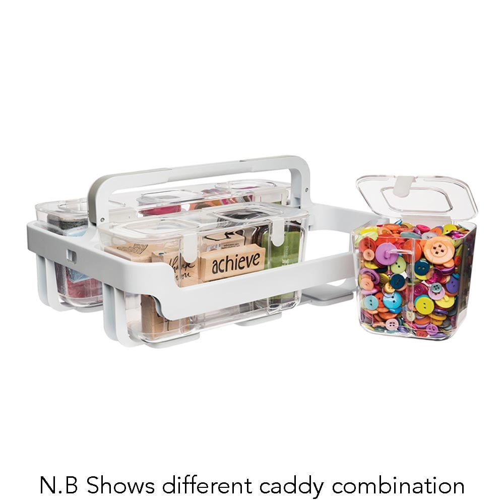 White/Clear Stackable Storage Caddy with 4 Small Tubs and 1 Medium Tub