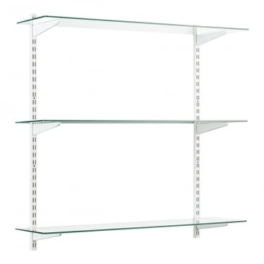 White/Glass Adjustable Shelving - 2 x 1000 mm Uprights, 3 x Shelves, 6 x U-Brackets