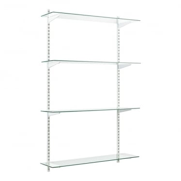 White/Glass Adjustable Shelving - 2 x 1600 mm Uprights, 4 x Shelves, 8 x U-Brackets