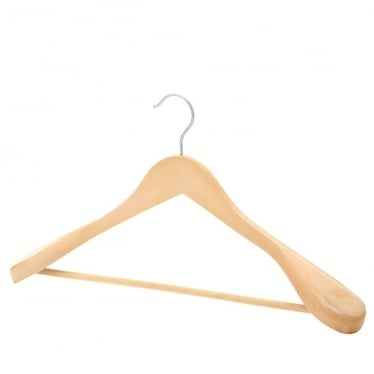Wooden Hanger with Broad Shoulders and Trouser Bar