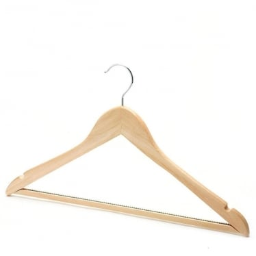 Wooden Hanger with Non-Slip Trouser Bar and Shoulder Notches