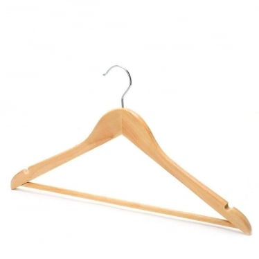Wooden Hanger with Trouser Bar and Shoulder Notches
