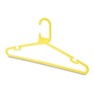 Yellow Heavy-Duty Plastic Hanger with Trouser Bar and Shoulder Notches